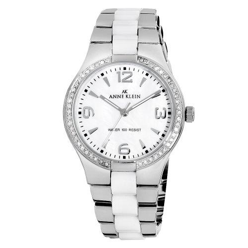 AK Anne Klein Women's 109119WTSV Swarovski Crystal Accented Silver-Tone Ceramic Dress Watch