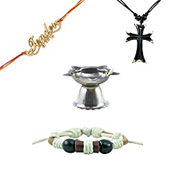 Alpha Man Key To Sucess Rakhi Set, Combo of Leather Bracelet, Dog Tag, Rakhi and Diya