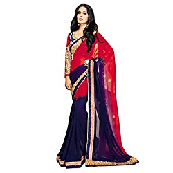 Vishal Nevy blue and Red Chiffon Heavy Embroidery work on Saree and Blouse Saree
