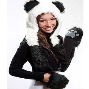 Panda Full Animal Hoodie Hat (Faux Fur) 3 in 1 Function