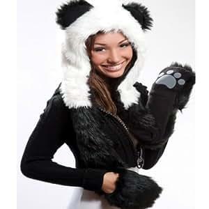 Amazon.com: Panda Full Animal Hoodie Hat (Faux Fur) 3 in 1