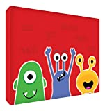 "Feel Good Art MONSTERS-A6BLK-09ES - Bloque decorativo recuerdo del bebé, diseño ""Monstruos Amistosos"", 10.5 x 15 x 2 cm, color rojo"