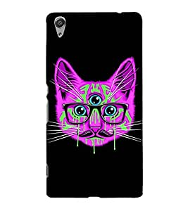 ANIMATED THREE EYED CAT WITH SPECTACLES 3D Hard Polycarbonate Designer Back Case Cover for Sony Xperia C6