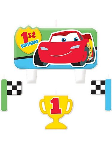 Cars 1st Birthday Molded Cake Candle Set (4ct) - 1
