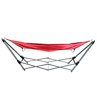 Stalwart  Portable Hammock with Frame Stand and Carrying Bag, Red