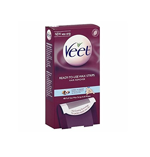 Veet Ready to Use Hair Removal Wax Strips, Legs & Body 40 strips by AB