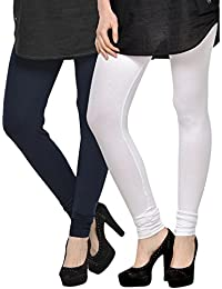 Kjaggs Women's Cotton Lycra Regular Fit Leggings Combo - Pack Of 2 (KTL-DB-3-10, Dark Blue, White)