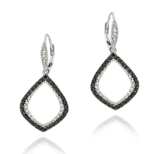 Sterling Silver Black Diamond Accent Teardop Dangle Leverback Earrings