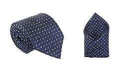 His Honour Combo Men's Polka Blue Neck Tie & Pocket Square