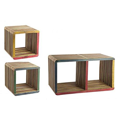 Home Office Set Mensola A Muro 3 pezzi Cubo Leo Multicolore