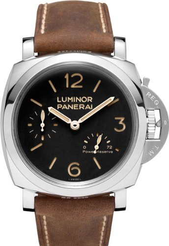 Panerai Luminor 1950 Power Reserve Black Dial Brown Leather Mens Watch PAM00423