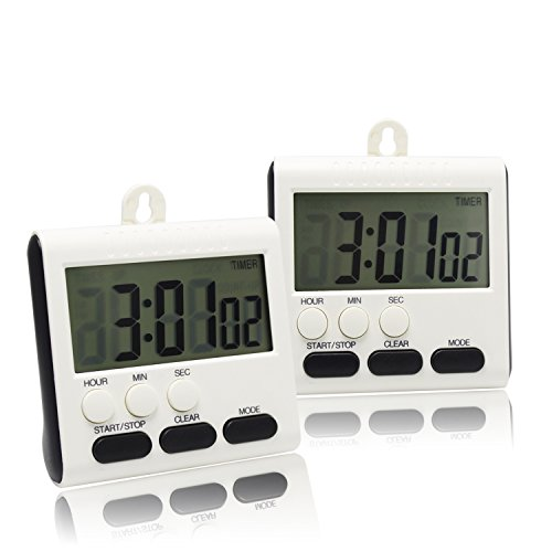 Digital Kitchen Timer with Large LCD Display and Clock-Function Includes Magnetic Back Stand, hanging mount (2) (Digital Desk Timer compare prices)