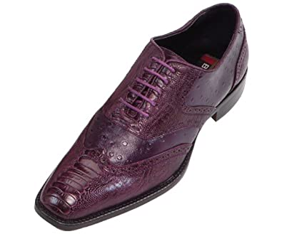 bolano mens purple classic smooth dress shoe