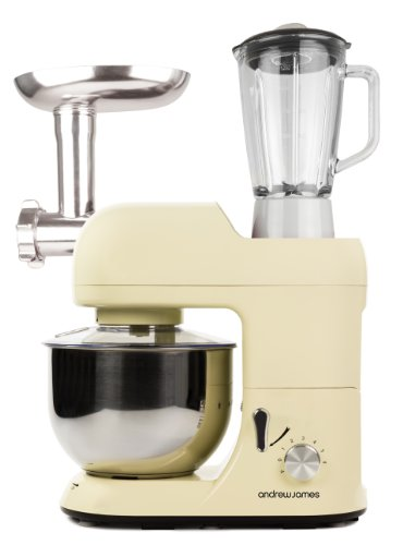 Andrew James Cream Multifunctional 5.2 Food Mixer With Meat Grinder And 1.5 Litre Blender Attachments - Includes 2 Year Warranty And Recipe Book