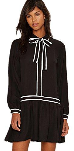 con collo a fiocco sul davanti Drop Waist a pieghe Chiffon Mini Camicia Vestito Abito nero bianco Color Block L