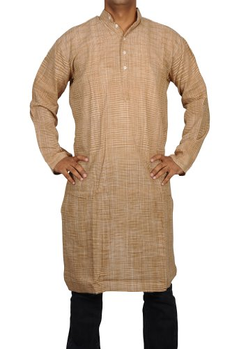 Designed Hand Made Casual Indian Striped Khadi Mens Long Kurta Fabric For Winter & Summers Size XXL