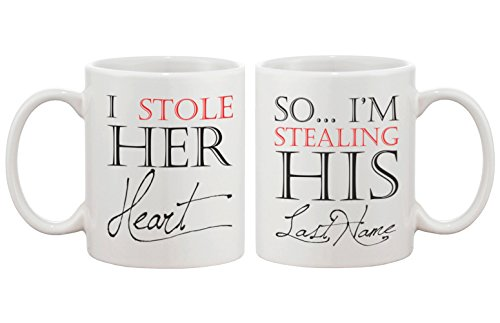 I Stole Her Heart, So I'm Stealing His Last Name Couple Mugs - His and Hers Matching Coffee Mug Cup Set - Perfect Wedding and Engagement Gift for Newlyweds