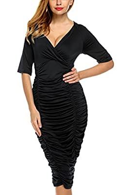 Zeagoo Womens Plus Size Deep V Neck Wrap Ruched Waisted Bodycon Dress