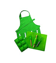 Personalized Green Children\'s Real Baking Set with Embroidered Polka Dot Apron by Dikor