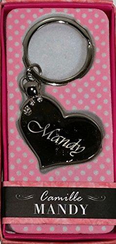 """MANDY Namens Herz Silber Metall Schlüsselanhänger mit Gravur und Swarovski-Kristall, in Geschenkverpackung, benannt. """"MANDY Effectz"""" von Sterling"""