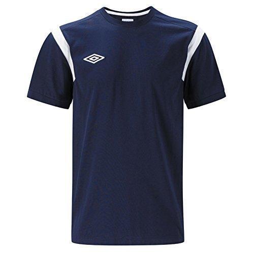Umbro Football CVC Allenamento Cotone T-Shirt Tee Da Uomo A Maniche Corte Maglia Nuova - cotone, Navy/Bianco, 35% poliestere\n\ntrim sleeve\n\n65% cotone, Uomo, Medium