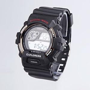 TIME100 LCD Multifunction Silver Bezel Sport Electronic Watch #W40016M.06A