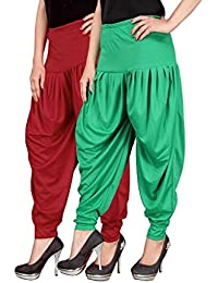 Navyataa Women's Lycra Dhoti Pants For Women Patiyala Dhoti Lycra Salwar Free Size (Pack Of 2) Red & Green