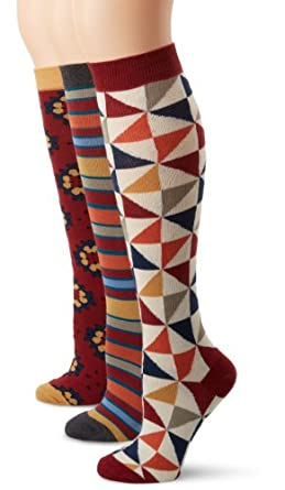 PACT Women's Heritage 3 Pack Knee Sock Gift Set, Multi Colored, One Size
