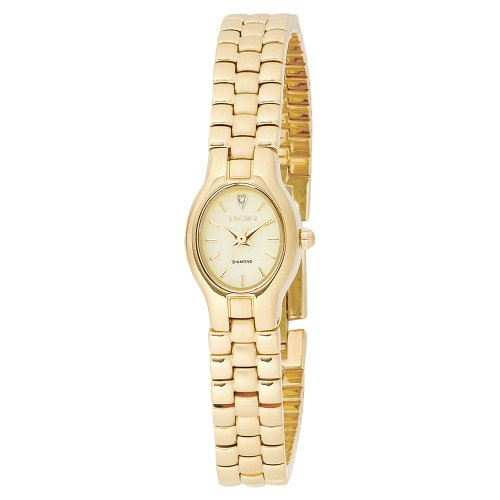 Elgin Women's EL320 Diamond Dial Gold-Tone Matt and Polished Bracelet Watch