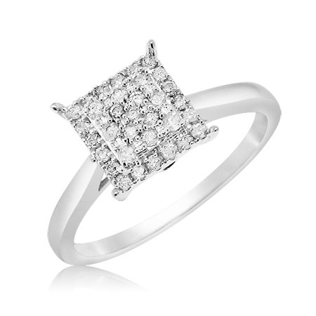 Natural Diamond Micro Pave Square With Halo Engagement Ring On 10K White Gold (0.26 Ctw), Size 5