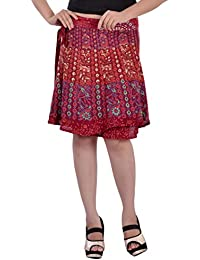 Indi Bargain Rayon Rajasthani Mandala Hand Block Printed Knee Length Wrap Around Skirt - 410