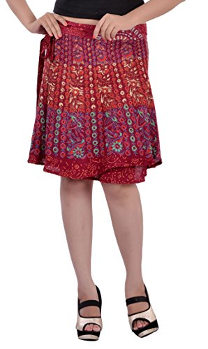 Indi Bargain Rayon Rajasthani Mandala Hand Block Printed Knee Length Wrap Around Skirt - 410