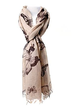 Women's Pure Cotton Butterfly scarf - 180cm. Beige/Light Brown with Brown Butterflies.