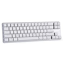 Qisan Keyboard Mechanical Wired Keyboard Blue Switch 68-Keys Mini Design (60%) Gaming Keyboard Come with Free Data OTG Cable White Silver Magicforce