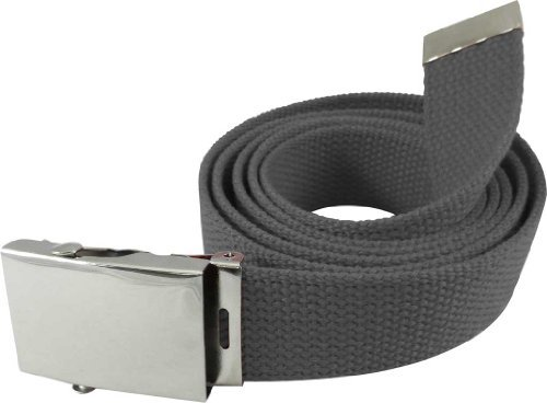 """Nice Shades 56"""" Military Style Canvas Web Belt w/ Silver Roller Buckle (Charcoal)"""