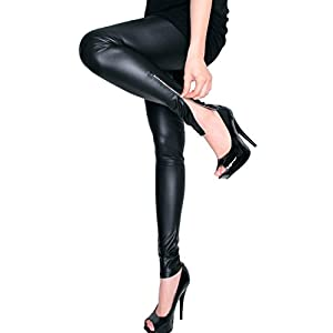 LeggingsQueen Ankle Zip Faux Leather Leggings - Medium