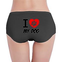 Sophie Warner I Love My Dog Footprint Basic Women Lady Girl Costumes Mini Shorts Panties Hipster Knickers Set Cotton