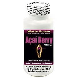 New Watts Power Pure Amazon Acai Berry 1200mg of Freeze Dried Extract Per Daily Serving - 60 Capsules - Energy - Antioxidant