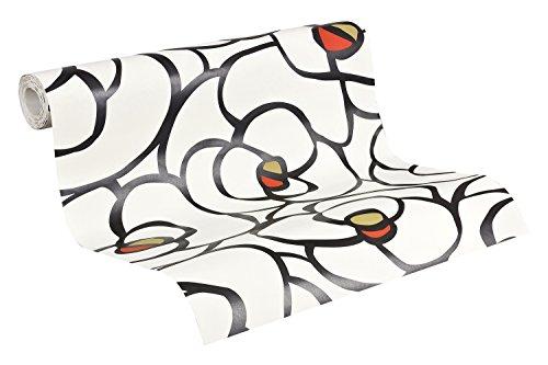 Selbstklebende Tapete Baumarkt : Livingwalls Vliestapete Raffi, Mustertapete Rose, floral, rot, schwarz