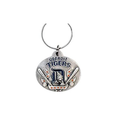 Detroit Tigers Oval Pewter Keychain