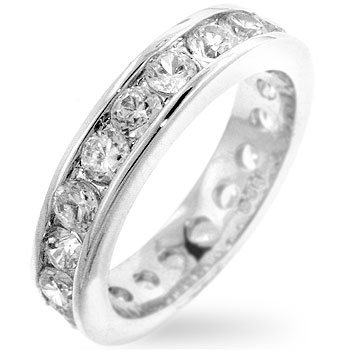 Sterling Silver Eternity Ring with Clear Cubic Zirconias Rhodium Plated, 8