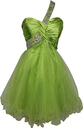 Beaded One-Shoulder Mesh Party Short Prom Homecoming Dress, XS, Lime