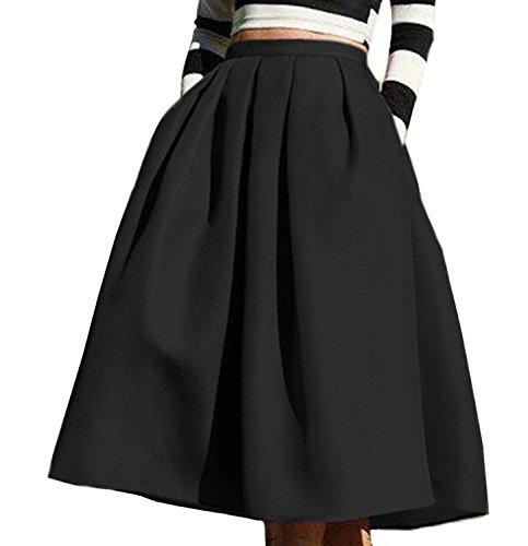Face N Face Women's High Waisted A line Street Skirt Skater Pleated Full Midi Skirt X-Large Black (Full Skater Skirt compare prices)
