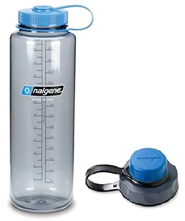 Nalgene Combo 48 oz GREY Silo Tritan Wide Mouth Hydration Bottle with Blue Ca...
