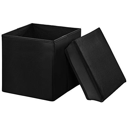 encasa-Faltbarer-Sitzhocker-30-x-30-x-30-cmschwarz-zugleich-Aufbewahrungsbox-Gre-M