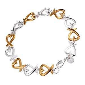 New Fashion Jewelry Classic Lovely Heart 925 Tie Womens Jewelry solid Silver Bracelets Chain+ velvet pouch
