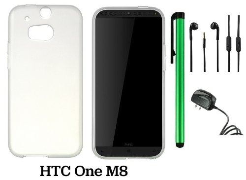 Htc One (M8) Solid Plain Color Tpu Protector Back Cover Case (2014 Q1 Released; Carrier: Verizon, At&T, T-Mobile, Sprint) + Travel (Wall) Charger + 3.5Mm Stereo Earphones + 1 Of New Assorted Color Metal Stylus Touch Screen Pen (Frosted White/Clear)