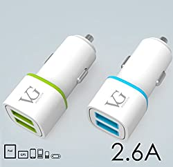 VG Munoth C207 Car Charger 2.6A dual port - White blue. Micro USB cable included. FREE SHIPPING