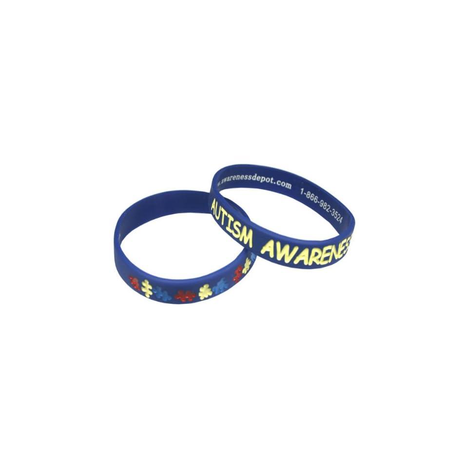 Autism Awareness Puzzle Piece Bracelets Fundraiser 10 Pack Adult Size