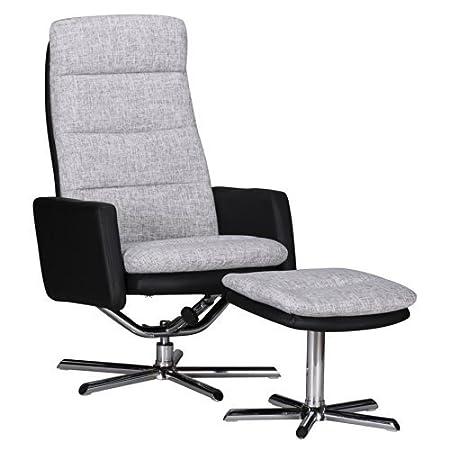 1PLUS Design Fernsehsessel TV Sessel mit Fußauflage Relaxsessel, grau schwarz
